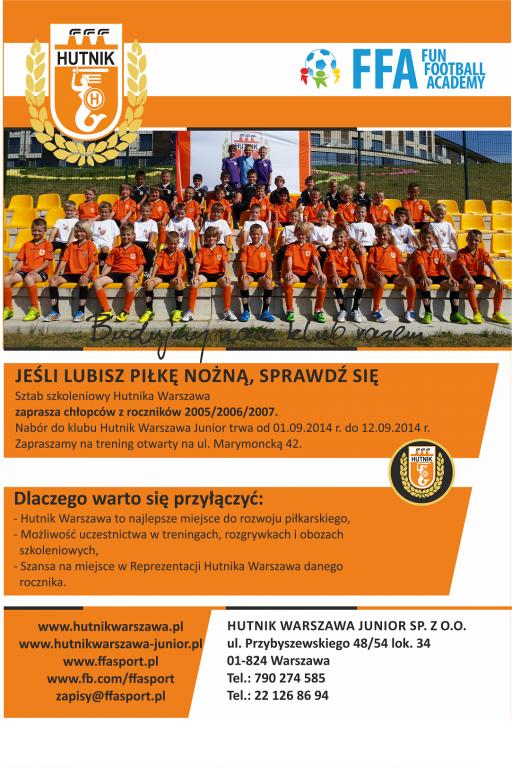 Klub Hutnik Warszawa prowadzi nabór